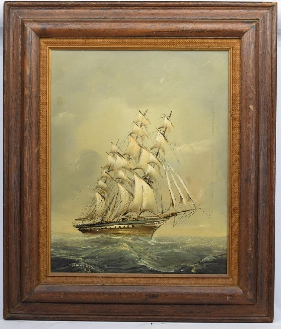 SIGNED OIL ON CANVAS SAILBOAT SHIP PAINTING - 2