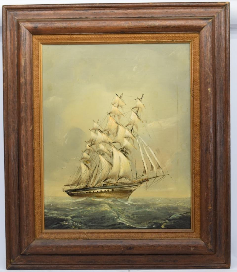 SIGNED OIL ON CANVAS SAILBOAT SHIP PAINTING - 3