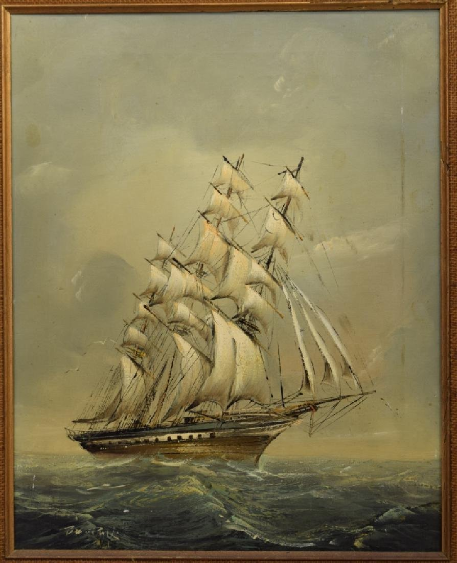 SIGNED OIL ON CANVAS SAILBOAT SHIP PAINTING - 4