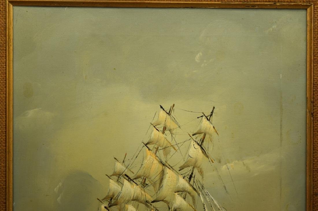 SIGNED OIL ON CANVAS SAILBOAT SHIP PAINTING - 5