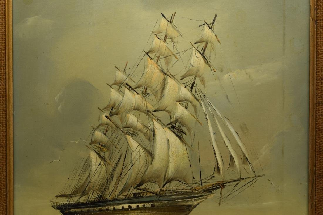 SIGNED OIL ON CANVAS SAILBOAT SHIP PAINTING - 6