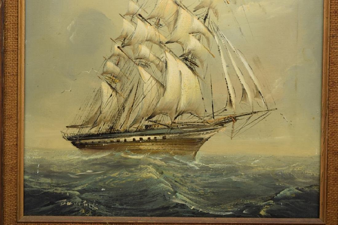 SIGNED OIL ON CANVAS SAILBOAT SHIP PAINTING - 7
