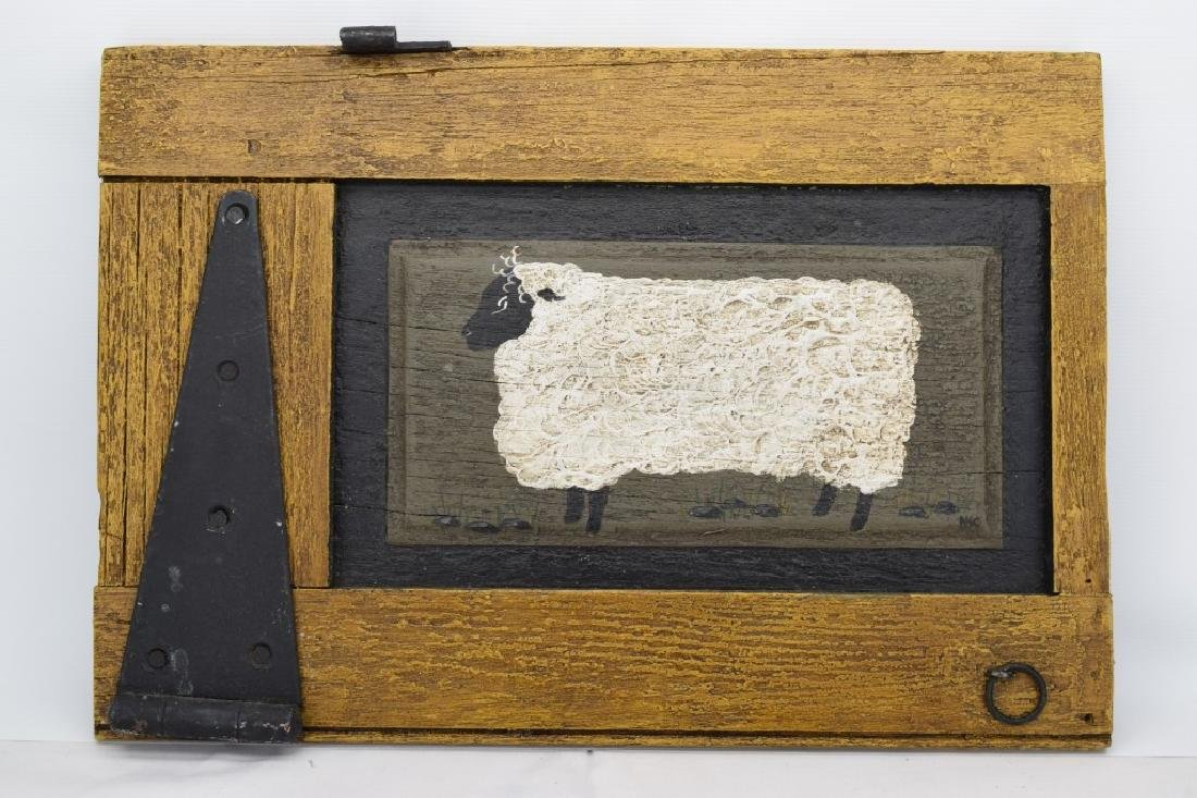 ANTIQUE BARN DOOR PAINTING OF A SHEEP SIGNED