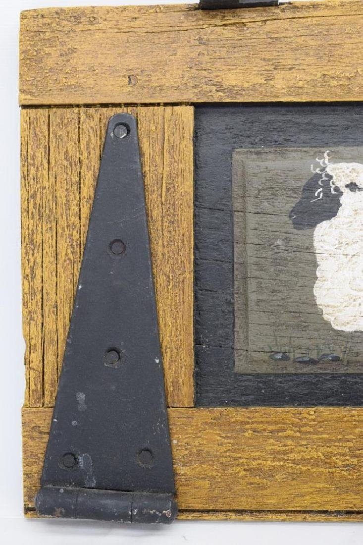 ANTIQUE BARN DOOR PAINTING OF A SHEEP SIGNED - 3