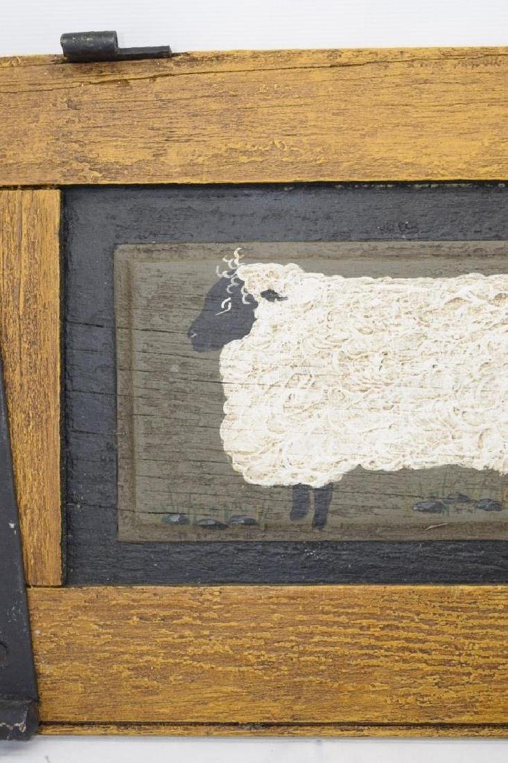 ANTIQUE BARN DOOR PAINTING OF A SHEEP SIGNED - 4