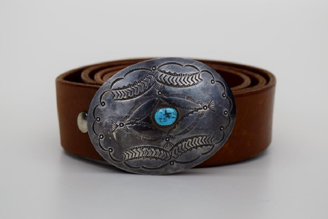 NATIVE AMERICAN STERLING SILVER TURQUOISE BELT