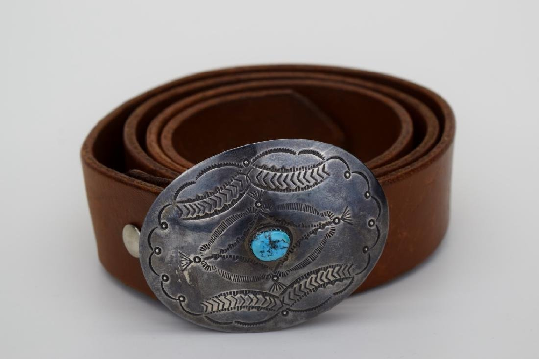 NATIVE AMERICAN STERLING SILVER TURQUOISE BELT - 2