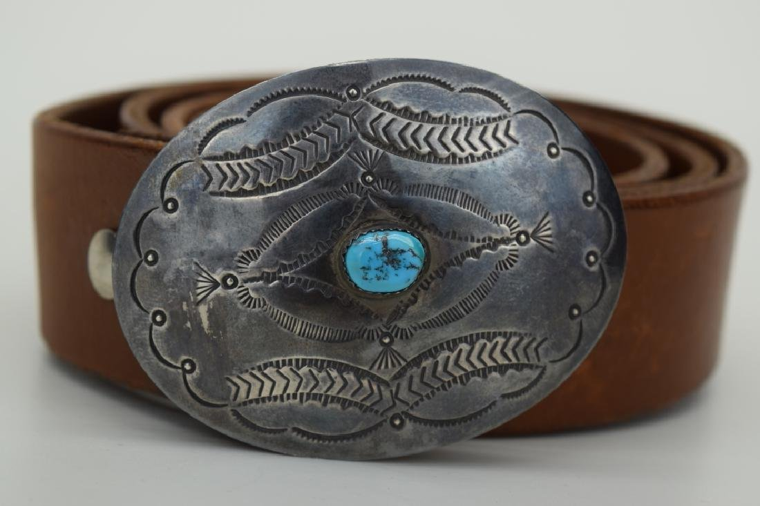 NATIVE AMERICAN STERLING SILVER TURQUOISE BELT - 3