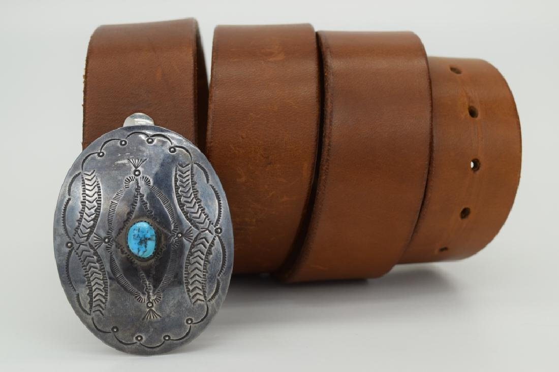 NATIVE AMERICAN STERLING SILVER TURQUOISE BELT - 6
