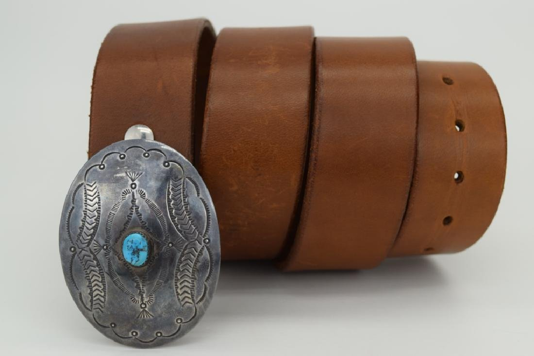 NATIVE AMERICAN STERLING SILVER TURQUOISE BELT - 7