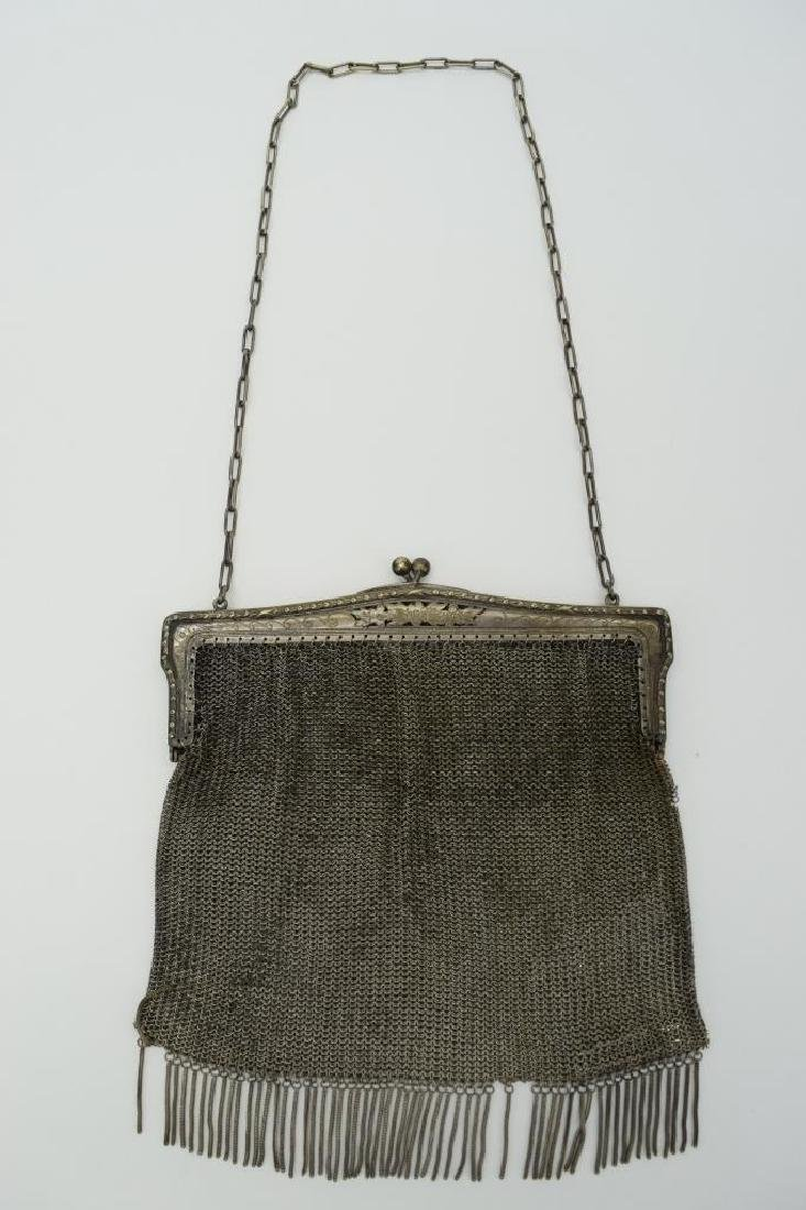 VINTAGE GERMAN SILVER CHAIN MESH HANDBAG PURSE - 2