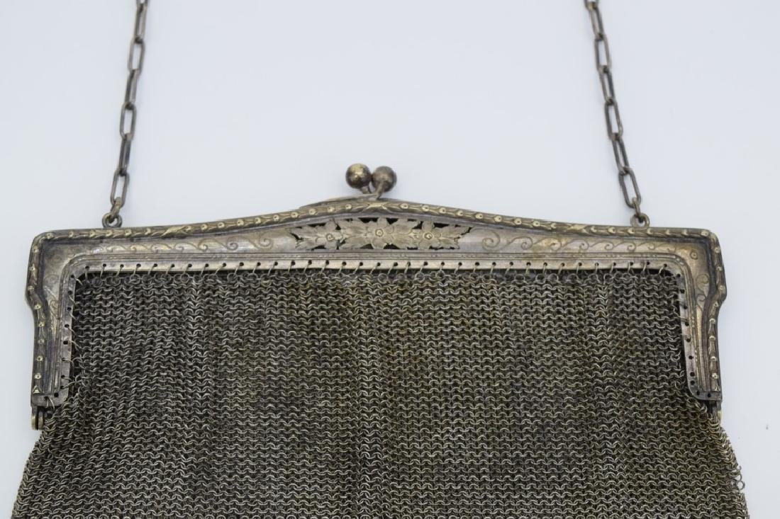 VINTAGE GERMAN SILVER CHAIN MESH HANDBAG PURSE - 6