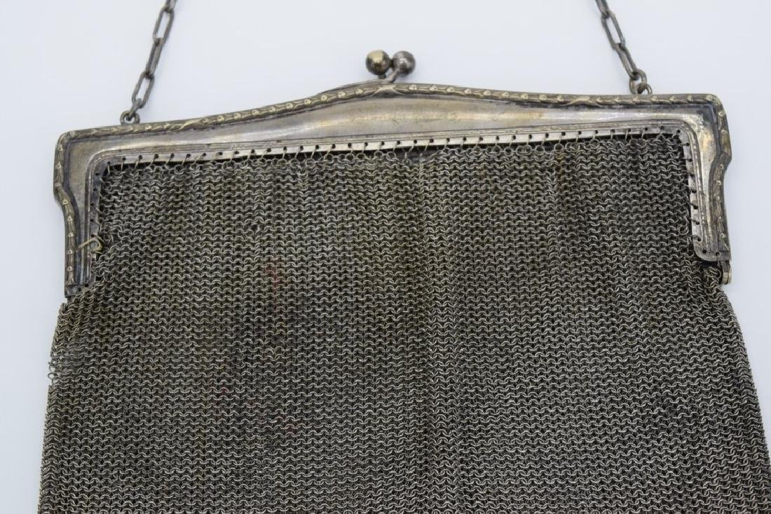 VINTAGE GERMAN SILVER CHAIN MESH HANDBAG PURSE - 7