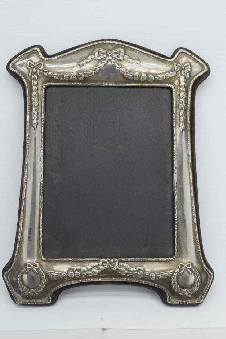 ANTIQUE STERLING SILVER MIRROR PICTURE FRAME - 2