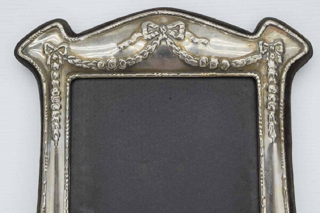 ANTIQUE STERLING SILVER MIRROR PICTURE FRAME - 3