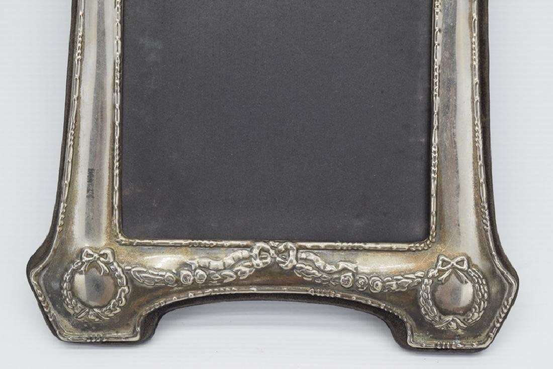 ANTIQUE STERLING SILVER MIRROR PICTURE FRAME - 5