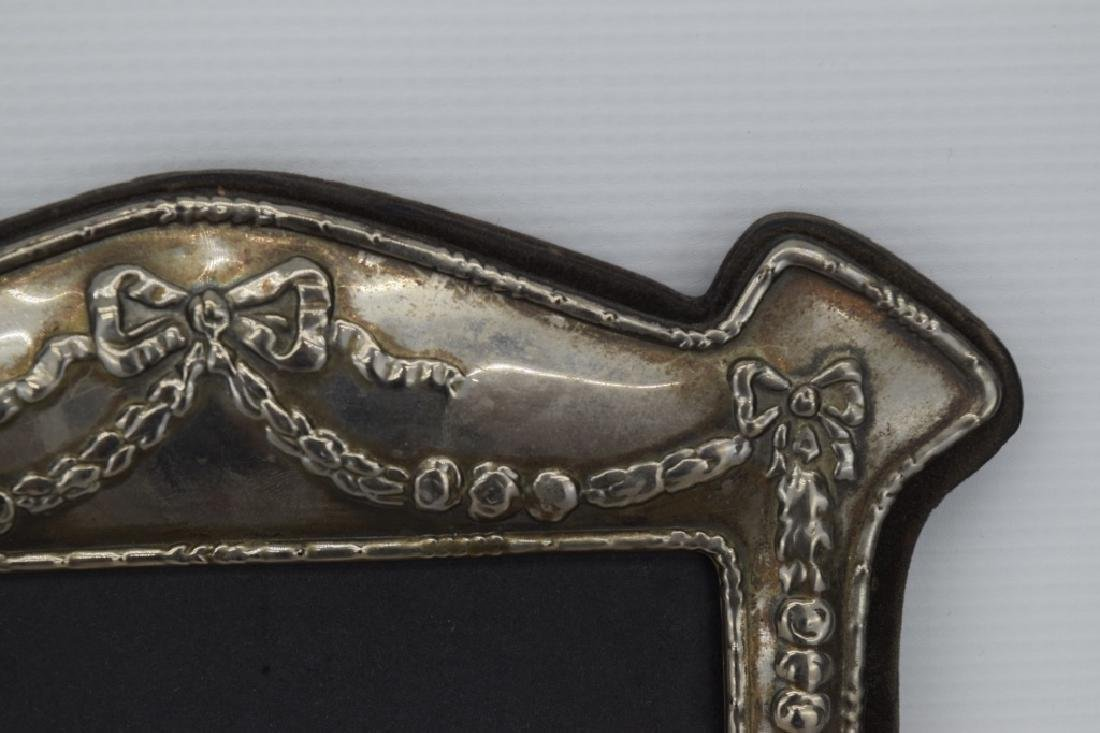 ANTIQUE STERLING SILVER MIRROR PICTURE FRAME - 8