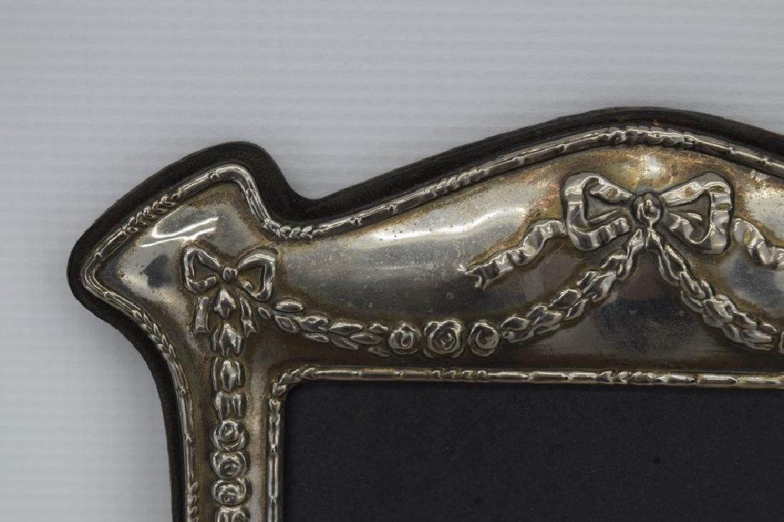 ANTIQUE STERLING SILVER MIRROR PICTURE FRAME - 9