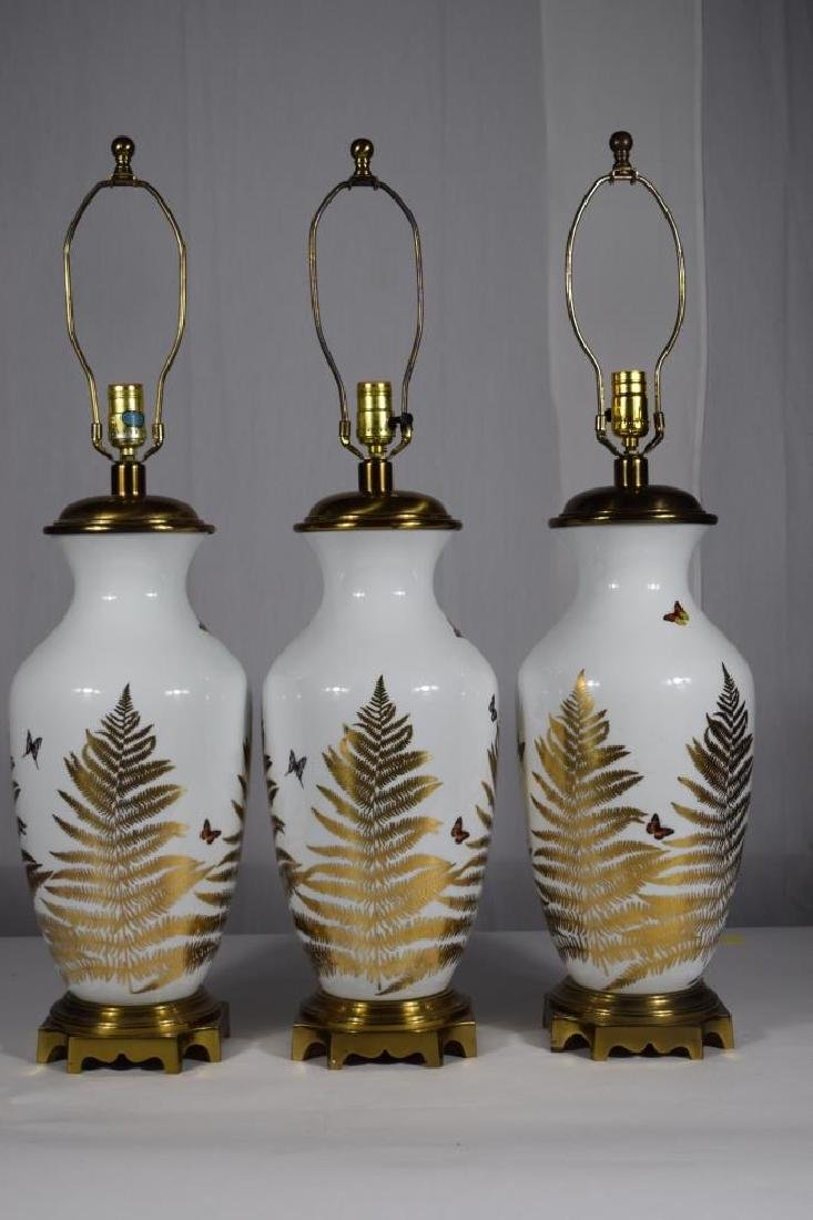3 PORCELAIN GOLD & WHITE FLORAL BUTTERFLY LAMPS
