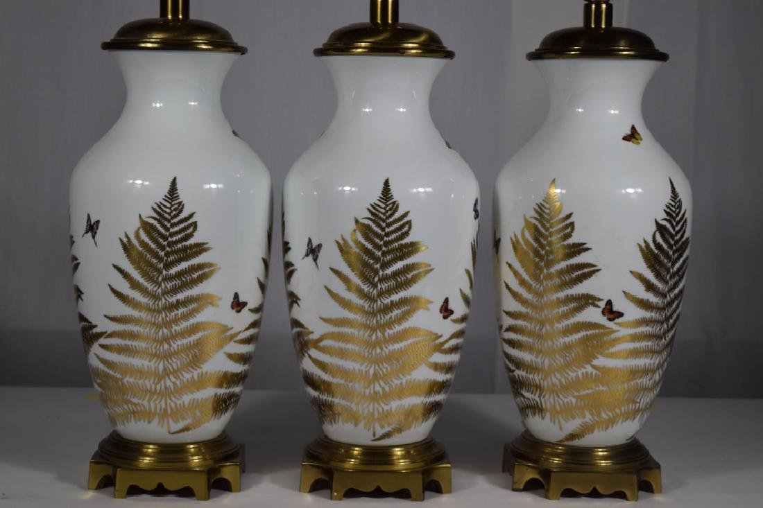 3 PORCELAIN GOLD & WHITE FLORAL BUTTERFLY LAMPS - 2