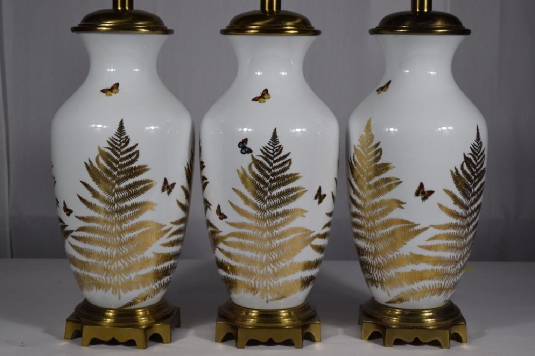3 PORCELAIN GOLD & WHITE FLORAL BUTTERFLY LAMPS - 3
