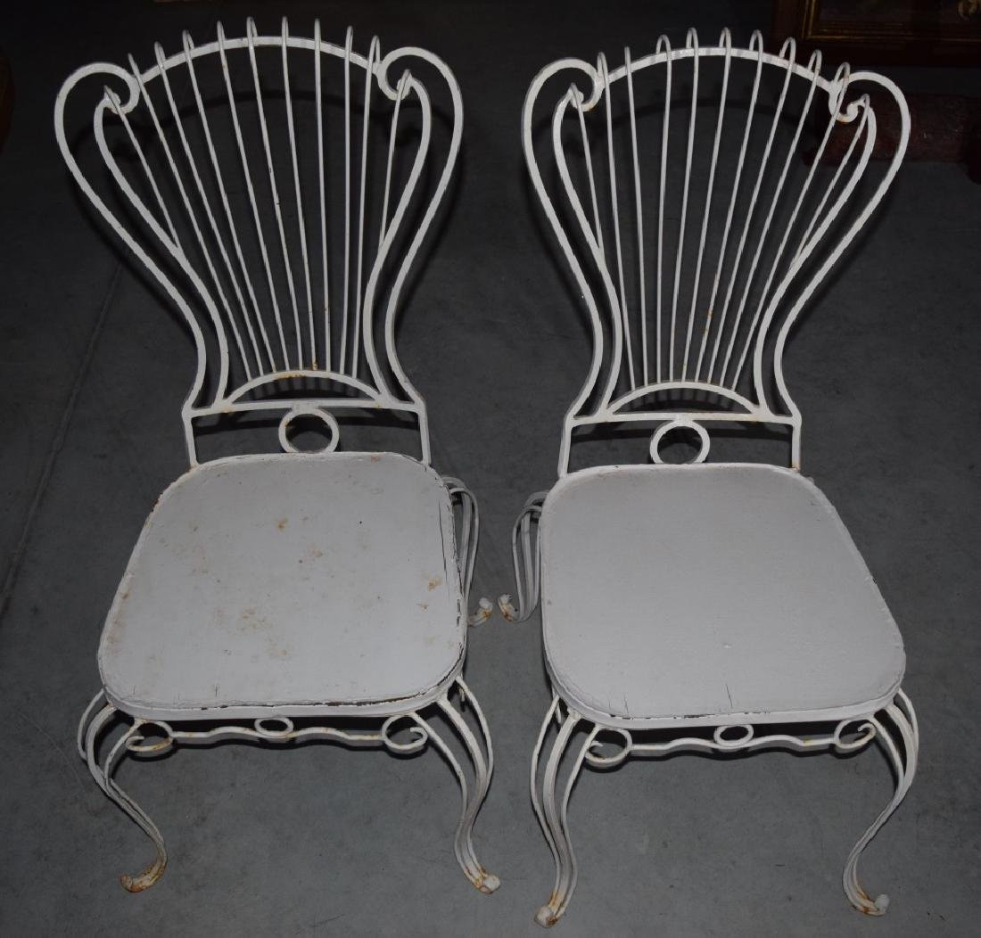 2 HOLLYWOOD REGENCY WROUGHT IRON CHAIRS