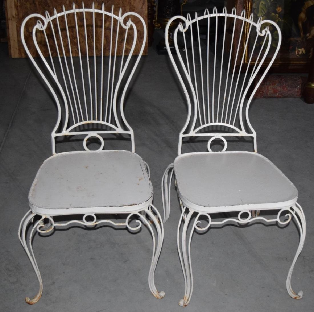 2 HOLLYWOOD REGENCY WROUGHT IRON CHAIRS - 2