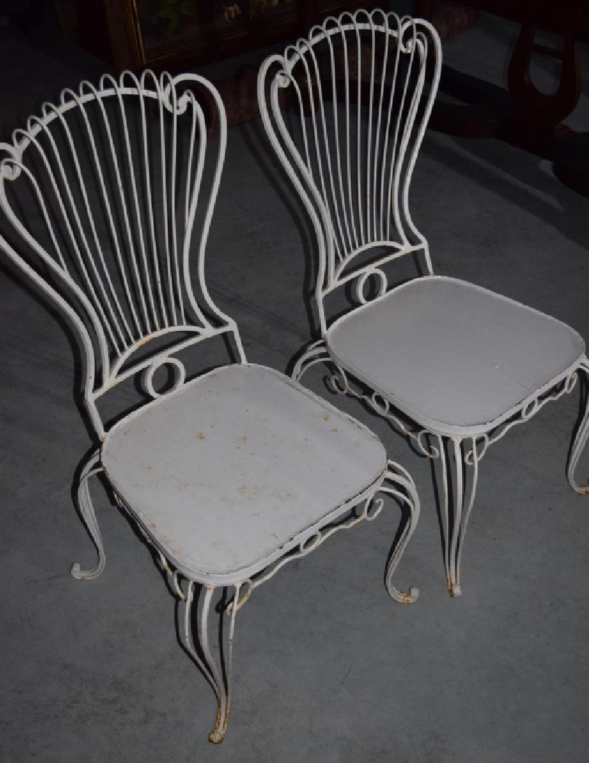 2 HOLLYWOOD REGENCY WROUGHT IRON CHAIRS - 3