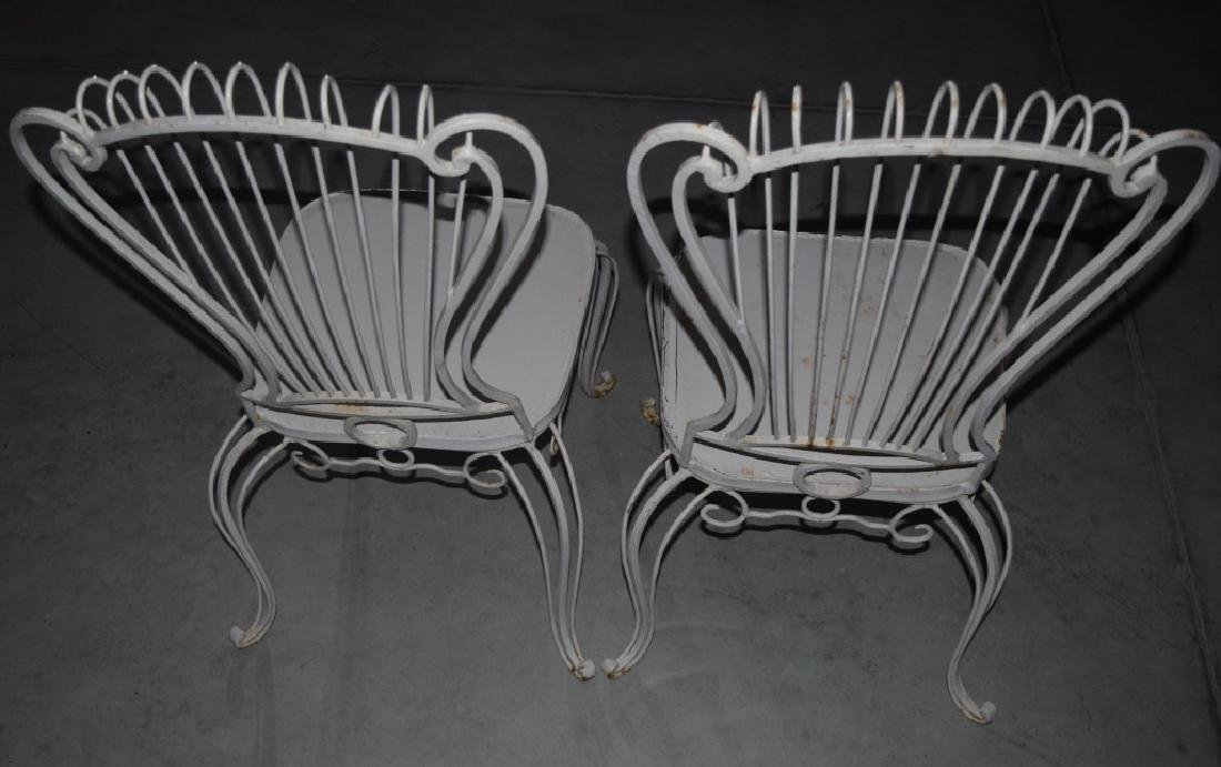 2 HOLLYWOOD REGENCY WROUGHT IRON CHAIRS - 4