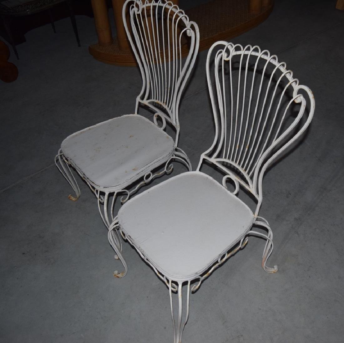 2 HOLLYWOOD REGENCY WROUGHT IRON CHAIRS - 6