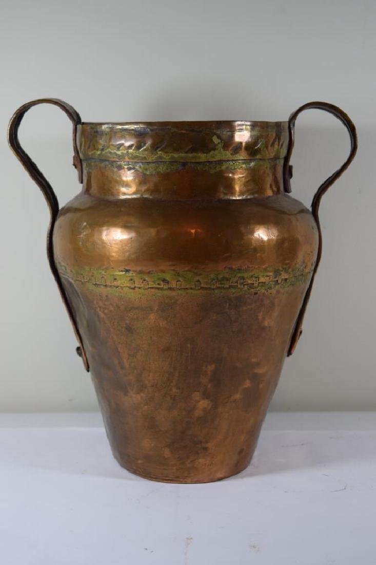 ANTIQUE HAND HAMMERED SECTIONED COPPER JUG