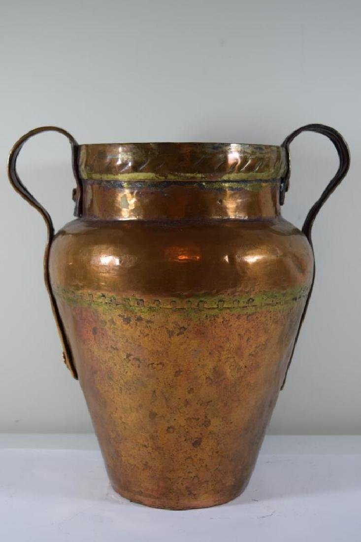 ANTIQUE HAND HAMMERED SECTIONED COPPER JUG - 5