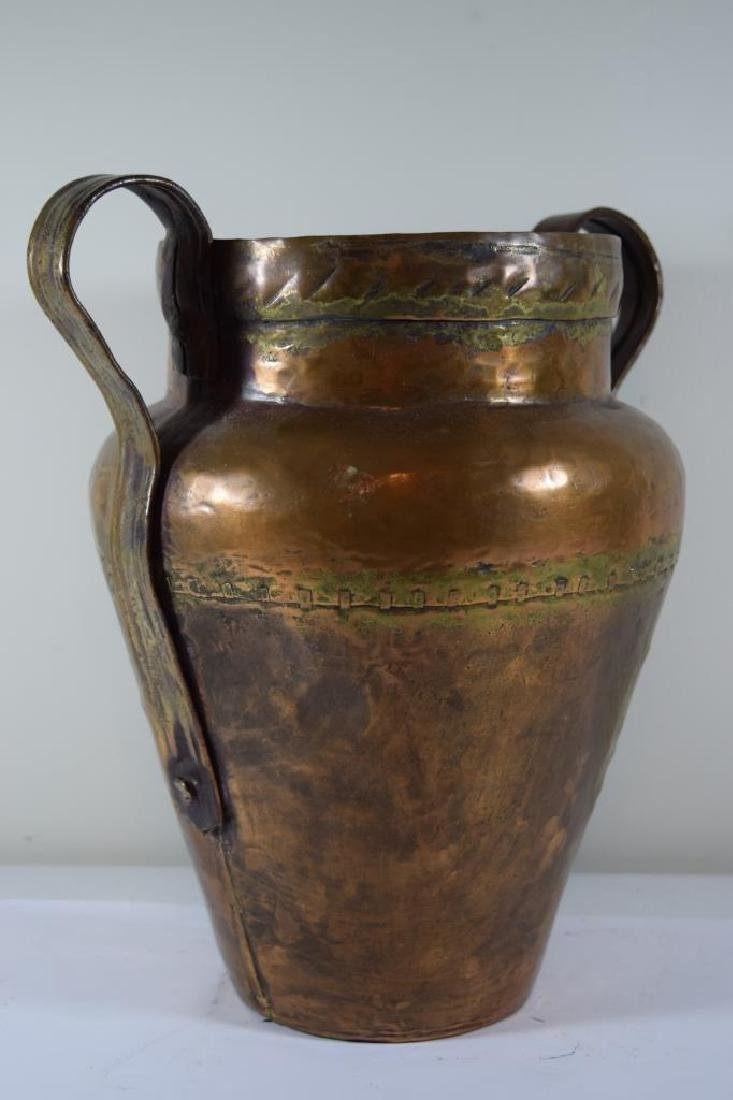 ANTIQUE HAND HAMMERED SECTIONED COPPER JUG - 7