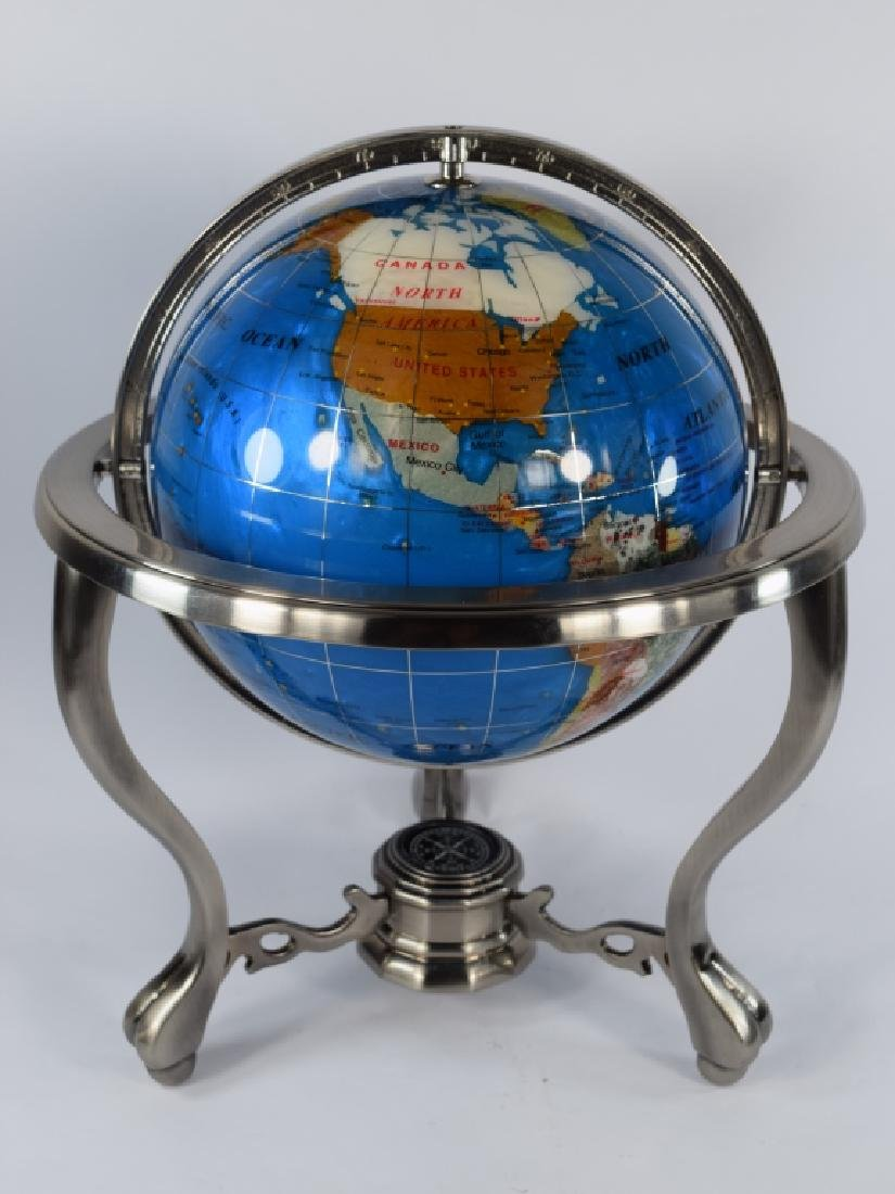 SEMI PRECIOUS STONE MOUNTED DESK GLOBE