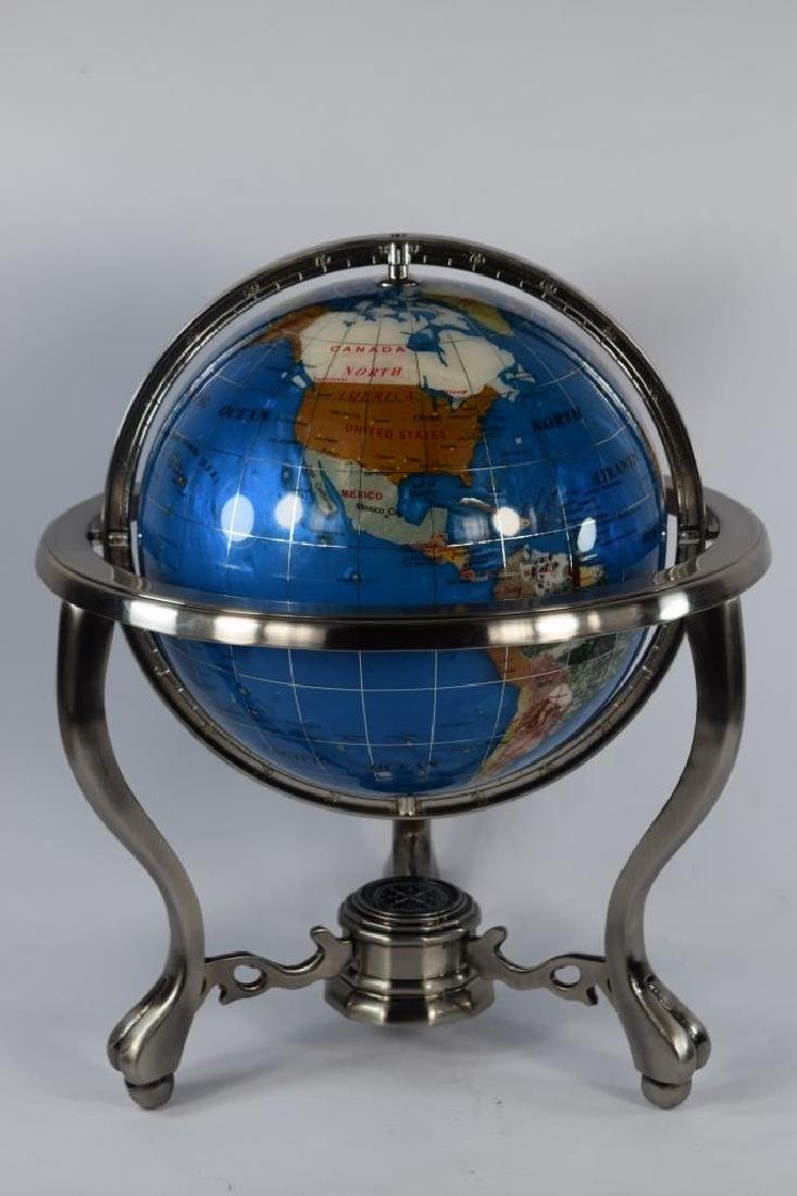 SEMI PRECIOUS STONE MOUNTED DESK GLOBE - 2