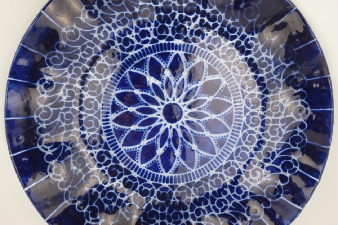 SYDENSTRICKER BLUE FLORAL ART GLASS CHARGER - 10