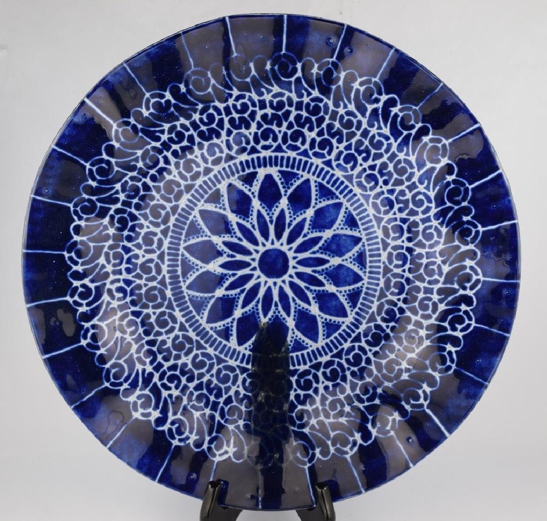 SYDENSTRICKER BLUE FLORAL ART GLASS CHARGER