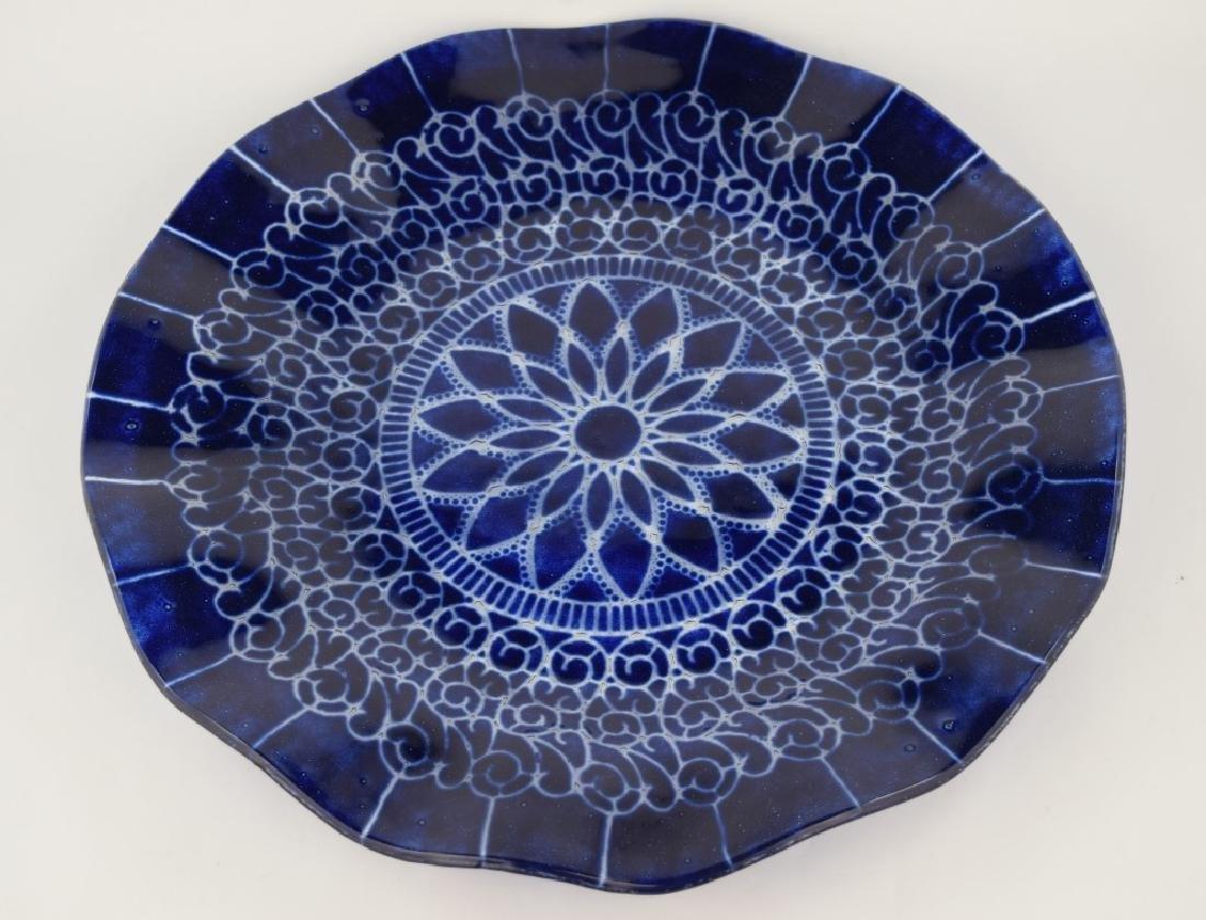 SYDENSTRICKER BLUE FLORAL ART GLASS CHARGER - 3