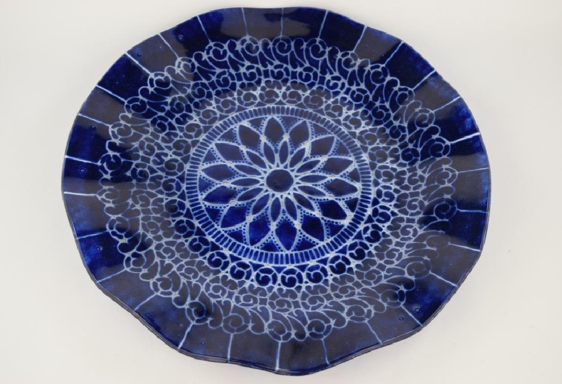 SYDENSTRICKER BLUE FLORAL ART GLASS CHARGER - 4