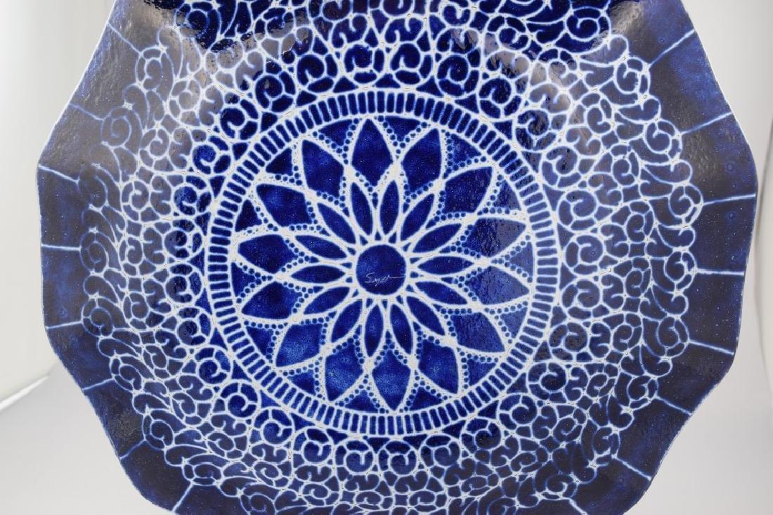 SYDENSTRICKER BLUE FLORAL ART GLASS CHARGER - 6