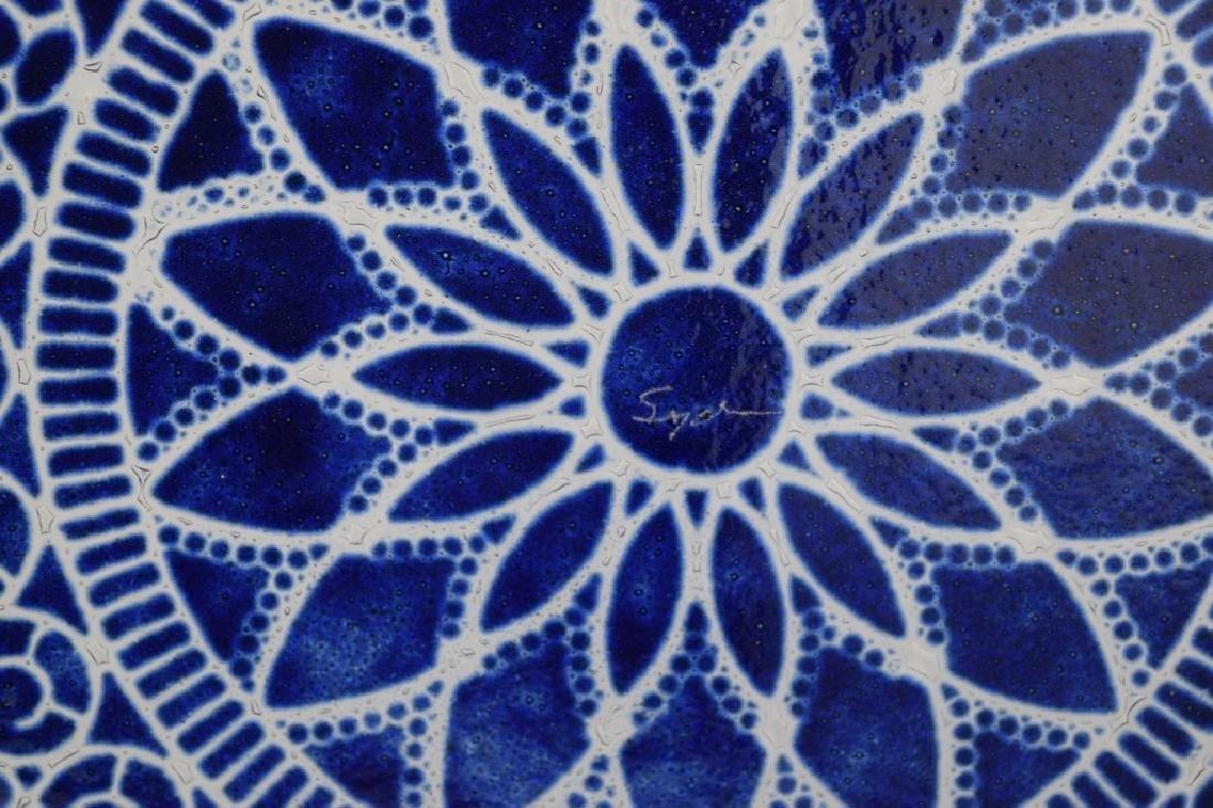 SYDENSTRICKER BLUE FLORAL ART GLASS CHARGER - 7