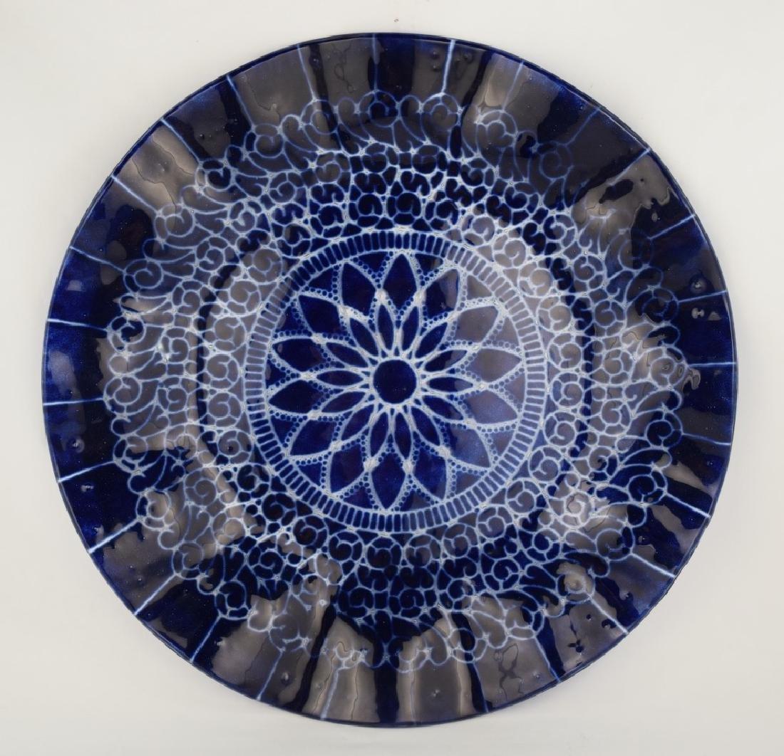 SYDENSTRICKER BLUE FLORAL ART GLASS CHARGER - 8