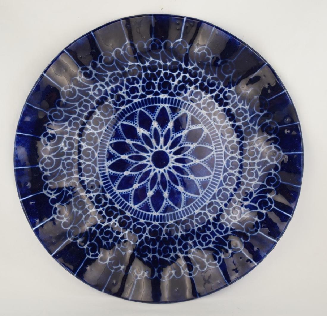 SYDENSTRICKER BLUE FLORAL ART GLASS CHARGER - 9