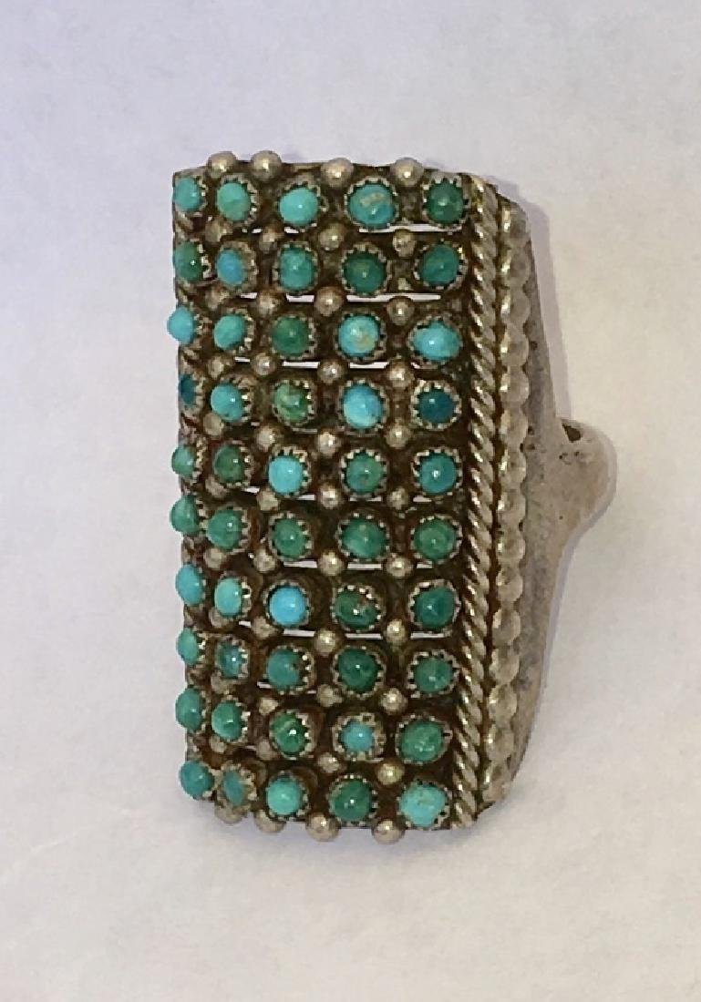 ZUNI TURQUOISE PETIT POINT STERLING SILVER RING