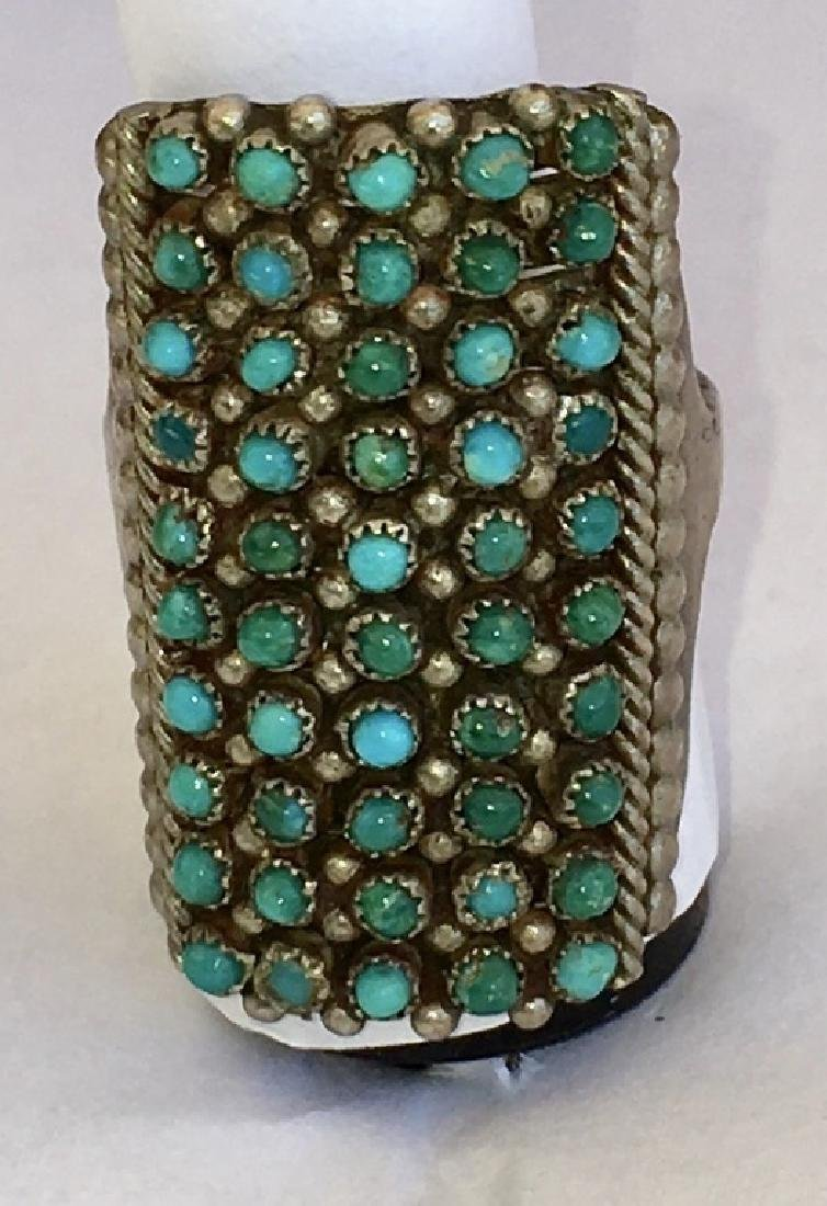 ZUNI TURQUOISE PETIT POINT STERLING SILVER RING - 3