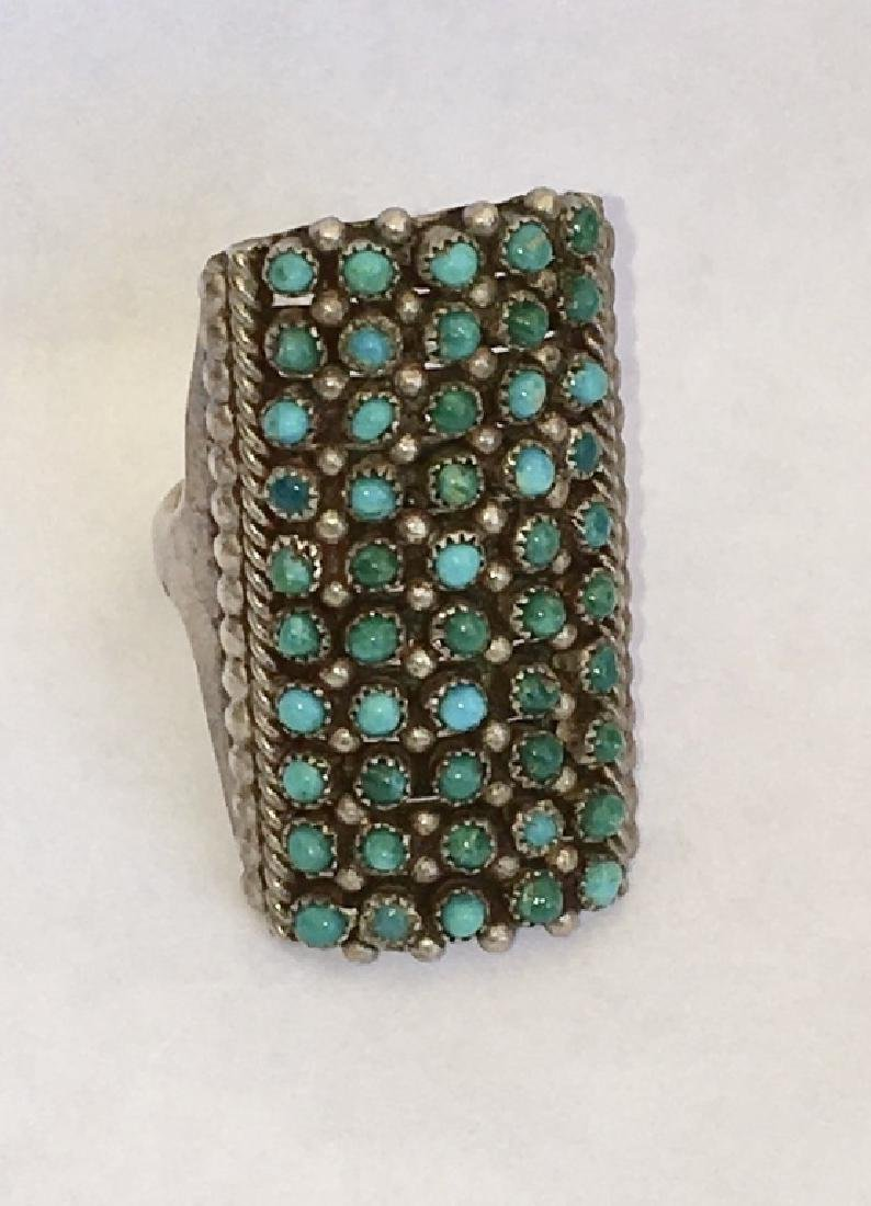 ZUNI TURQUOISE PETIT POINT STERLING SILVER RING - 5