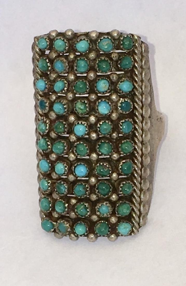 ZUNI TURQUOISE PETIT POINT STERLING SILVER RING - 6