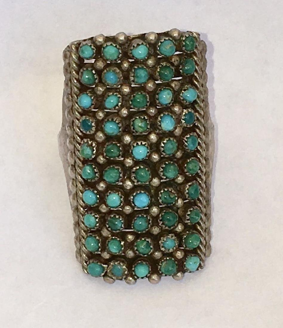 ZUNI TURQUOISE PETIT POINT STERLING SILVER RING - 7