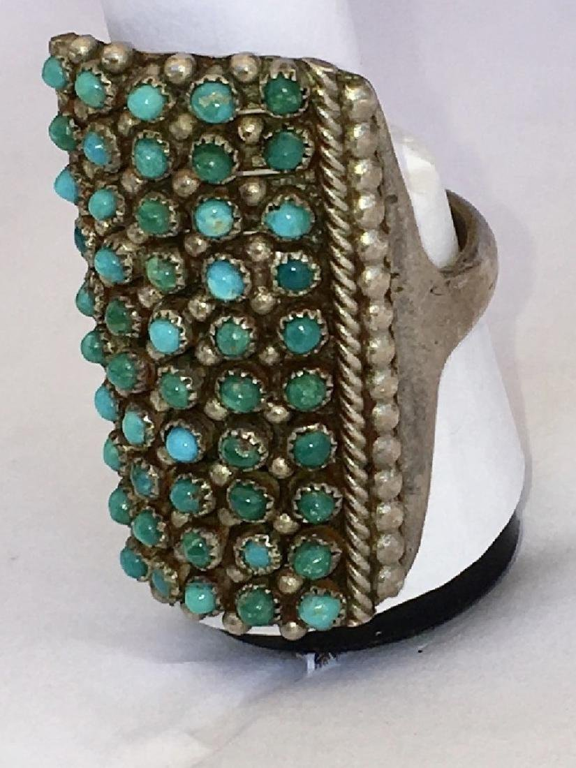 ZUNI TURQUOISE PETIT POINT STERLING SILVER RING - 9