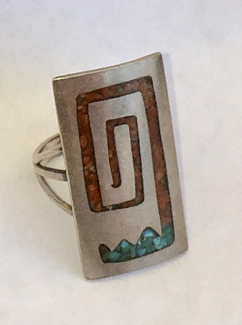 NAVAJO CORAL & TURQUOISE INLAID STERLING SILVER - 4